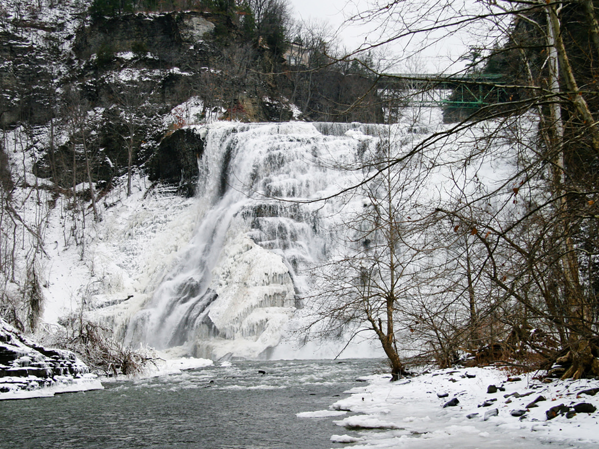 Ithaca Falls covered in snow and ice